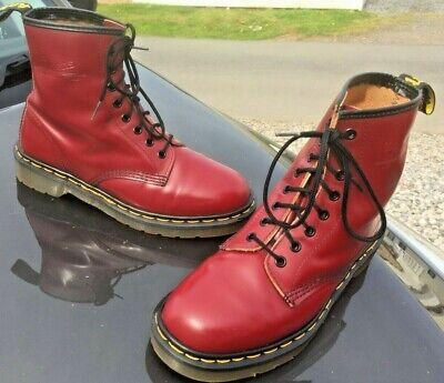 Dr Martens 1460 Cherry Red Stivali In Pelle Uk 7 Eu 41 Made In England-mostra Il Titolo Originale Merci Di Convenienza