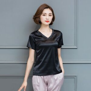 Women-Satin-Silk-Like-Short-Sleeve-T-shirt-Lady-V-Neck-Solid-Tops-Cosy-Sleepwear