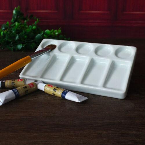 Ceramic Artist Paint Palette 10 wells Art Paint Palette Watercolor Mixing Tray