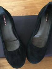 "PRADA Suede Leather Kitten Pumps Heels Shoes 38.5 8 1/2 M Black ""PRADA"" logo EUC"