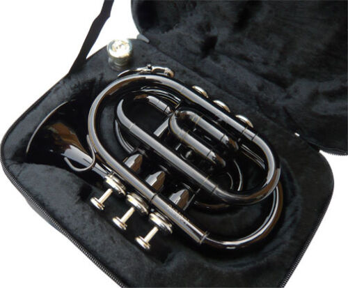 BRAND NEW  BLACK  POCKET TRUMPET W/CASE.WARRANTY.