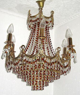 Wunderschöne Antik  Messing Kristall Kronleuchter, Lüster