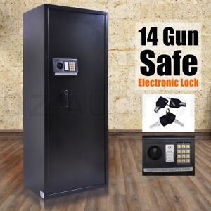14-Rifle-Storage-Gun-Safe-Firearm-Security-Lockbox-Heavy-Duty-Cabinet-Bonus