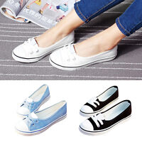 New Ladies Womens Girls Flat Sneakers Pumps Canvas Trainers Shoes Low High Comfo