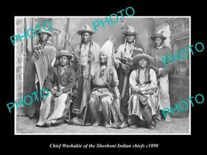 OLD-POSTCARD-SIZE-PHOTO-OF-SHOSHONI-INDIAN-CHIEF-CHIEF-WASHAKIE-amp-CHIEFS-c1890
