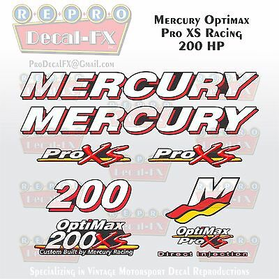 Mercury 200 HP OPTIMAX outboard engine decal sticker kit reproduction 200HP