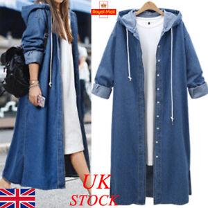 e359d20b9e5e UK Womens Denim Long Coats Ladies Button Jean Hoodies Hooded ...