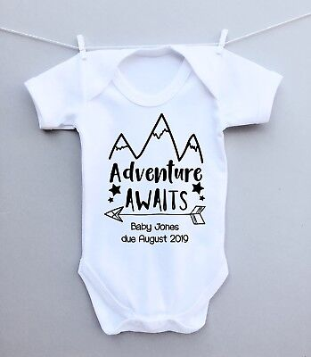 PERSONALISED PREGNANCY REVEAL BABY ANNOUNCEMENT BABY GROW BODY VEST