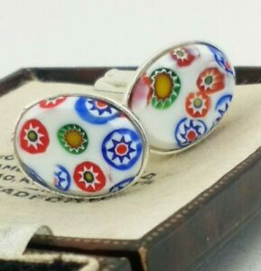 Vintage-Millefiori-Style-White-Glass-Cabochon-Oval-Silver-Plated-Cufflinks