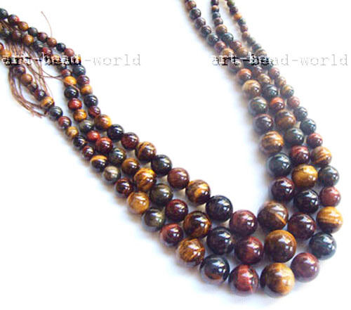 """22/"""" tiger/'s eye necklace 6-16mm round Graduated smooth yellow blue red mixed"""