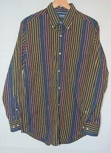 Vintage-90s-Jantzen-Mens-Oxford-LS-Shirt-Black-Blue-Yellow-Striped-Disco-Club-M