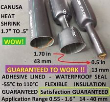"""12"""" Inches 1.70"""" HEAVY DUTY Adhesive Lined Heat Shrink Tubing Marine Tool Grips"""