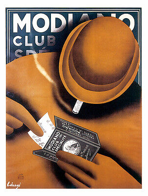 7724.Modiano club.Man in brown hat and brown coat smoking.POSTER.art wall decor