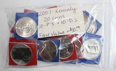 20 UNC coins 2001 P Kennedy Half Dollar FULL UNC MINT ROLL