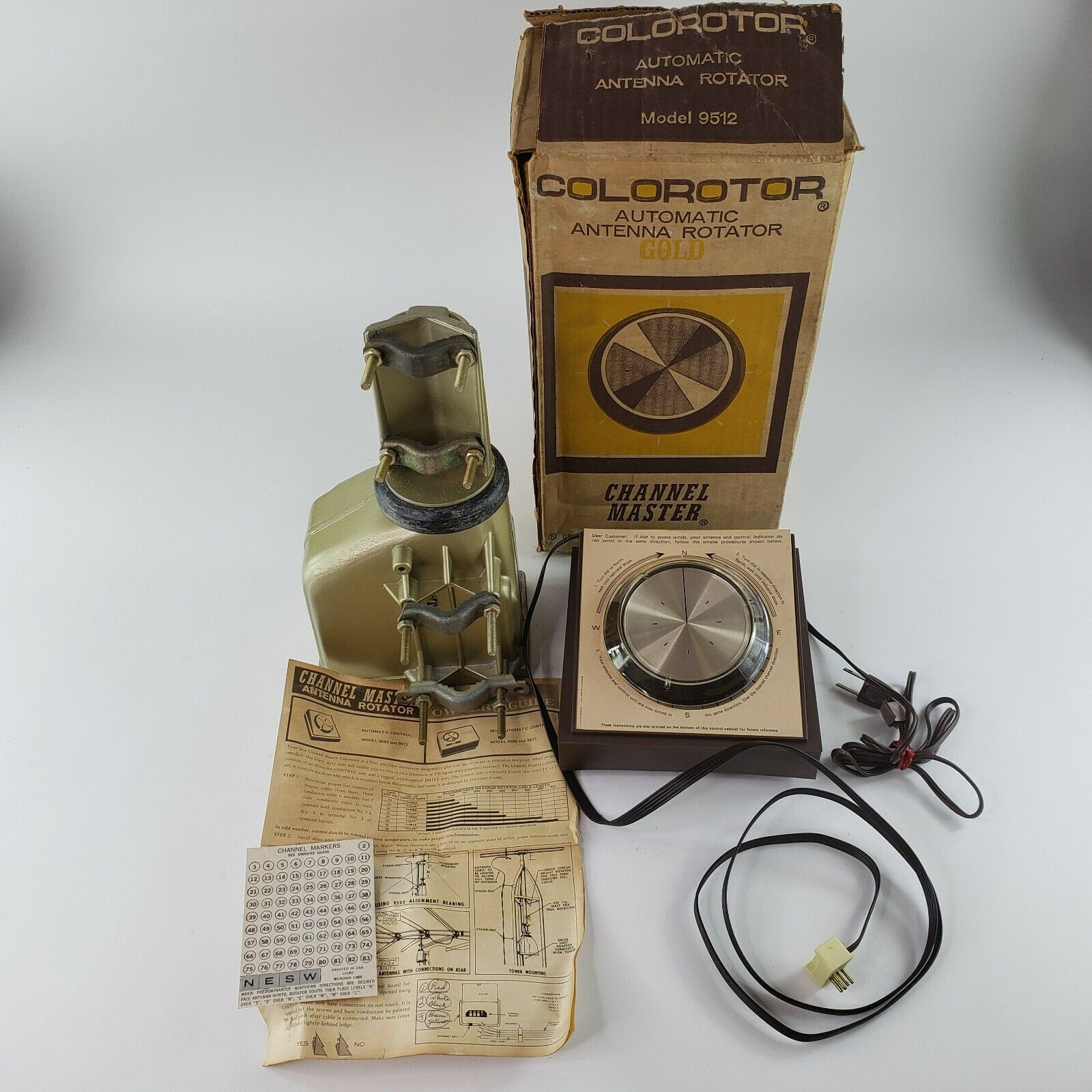 Channel Master Colorotor 9512 Automatic Antenna Rotator GOLD Vintage 1971 MINT. Buy it now for 292.98