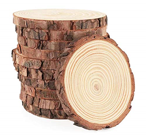 Wood Slices 16Pcs 3.5''-4'' Unfinished Wood Rounds Natural Thicken Slab with for