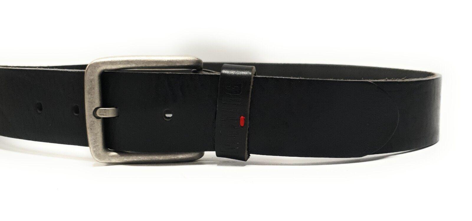 MUSTANG Herren Designer Leder Gürtel Lederriemen Jeansgürtel Schwarz W95 M19