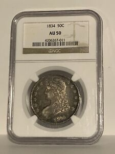 1834 Capped Bust Half Dollar 50C NGC AU50 Large Date Large Letters
