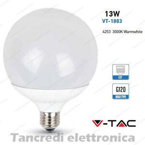 Lampadina-led-V-TAC-13W-75W-E27-bianco-caldo-3000K-VT-1883-globo-G120-lampada