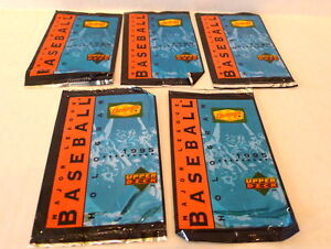 6-23-20-DDenny-039-s-Baseball-Cards-Upper-Deck-1995-Lot-5-card-packs-Holograms-NIP