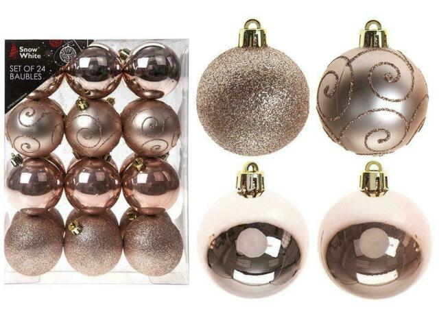 Snow White Shatterproof Christmas Tree Decoration 9 Pack 60mm Baubles Rose Gold