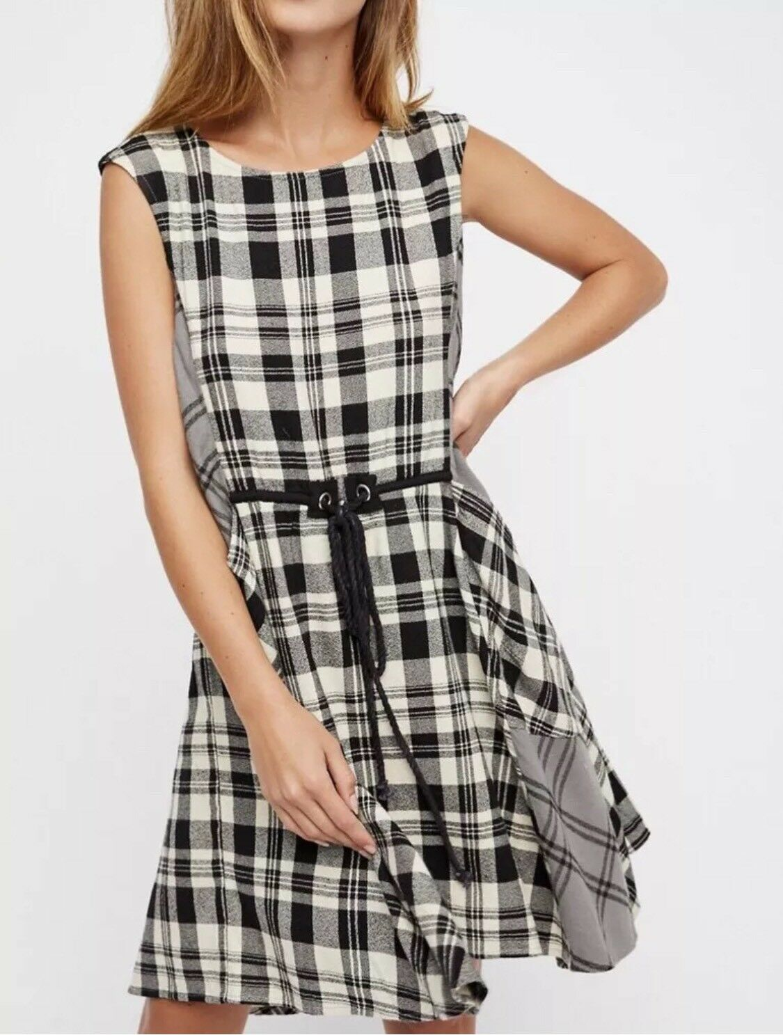 NWT FREE PEOPLE Size M  LAND LINES LINES LINES MIXED PLAID MINI DRESS TUNIC  148 c14d81
