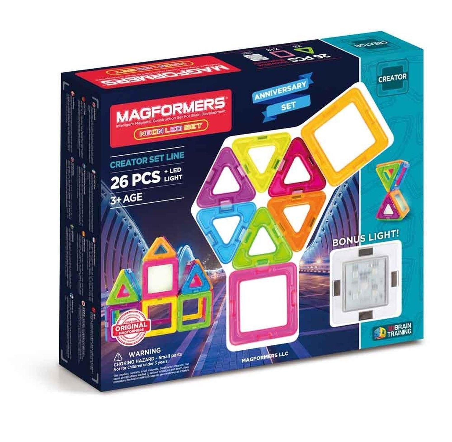 MAGFORMERS Neon (26 Piece) + Bonus Light Building Set Rainbow