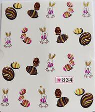 "Glittery 3D Nail Art Sticker ""Easter Bunny & Golden Eggs"" Water Decals *NEW* 834"