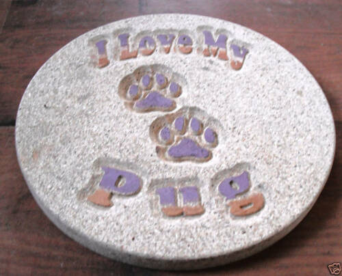 I love my pug plastic mold concrete plaster dog plaque mould