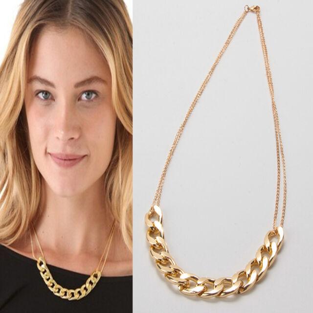 Golden/Silver Plated Chunky Chain Link Necklace Alloy Choker Pendant Bracelet