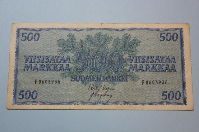 1956 FINLAND FINNLAND 500 MARKKAA BANKNOTE PICK#96A F+