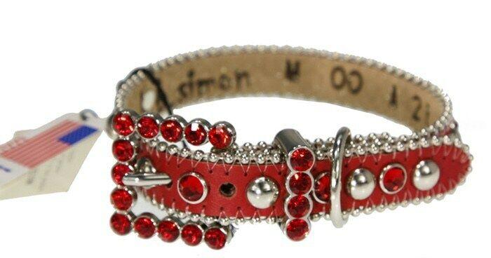 BB Simon Red Leather Dog Collar XXLarge