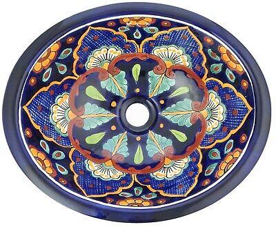 "Mexican Talavera Vessel  Sink 16x11.5/"" Ceramic Sink Handmade Hand Painted # 02"
