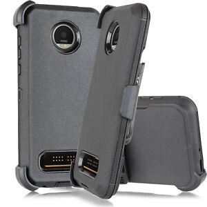 For Motorola Moto Z4 / Z4 Play Shockproof Armor Case Cover Kickstand Belt Clip