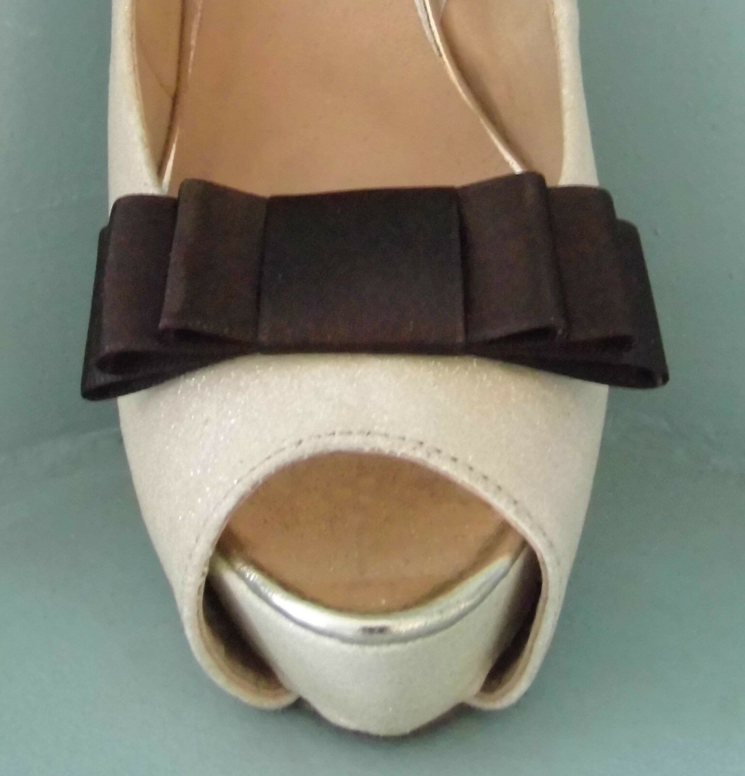 2 Handmade Dark Brown Triple Bow Shoe Clips - other colours on request