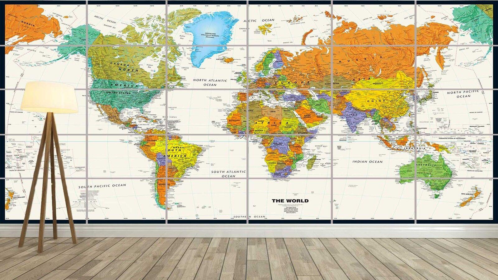 WORLD WORLD WORLD MAP CARTE DU MONDE XXL Poster Home Deco Salon ...