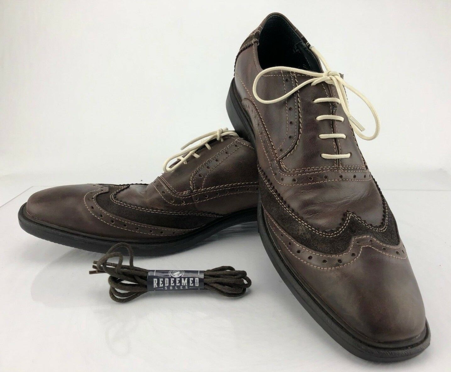 John Lennon Lucy Oxfords - Brown Leather Lace Up Brogue Casual shoes Men's Sz 13D