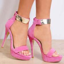 PINK BARELY THERE STILETTOS PLATFORMS STRAPPY SANDALS HIGH HEELS SIZE UK 6