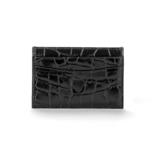RRP £45. Embossed Detail Aspinal of London Slim Credit Card Case in Black Croc