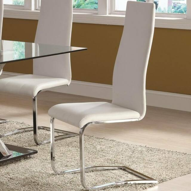 White Faux Leather Dining Chairs with Chrome Base - Set of 2