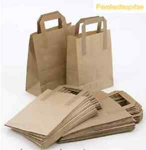 ALL 3 SIZES- Small,Medium,Large Brown Paper SOS carrier bags take away handles