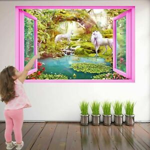 Unicorn Fantasy Forest Wall Art Stickers Murale Autocollante Poster Az40-afficher Le Titre D'origine