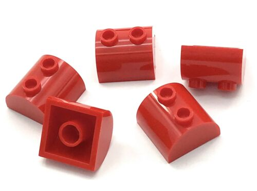 Lego 5 New Red Bricks Modified 2 x 2 Curved Top with 2 Top Studs Pieces