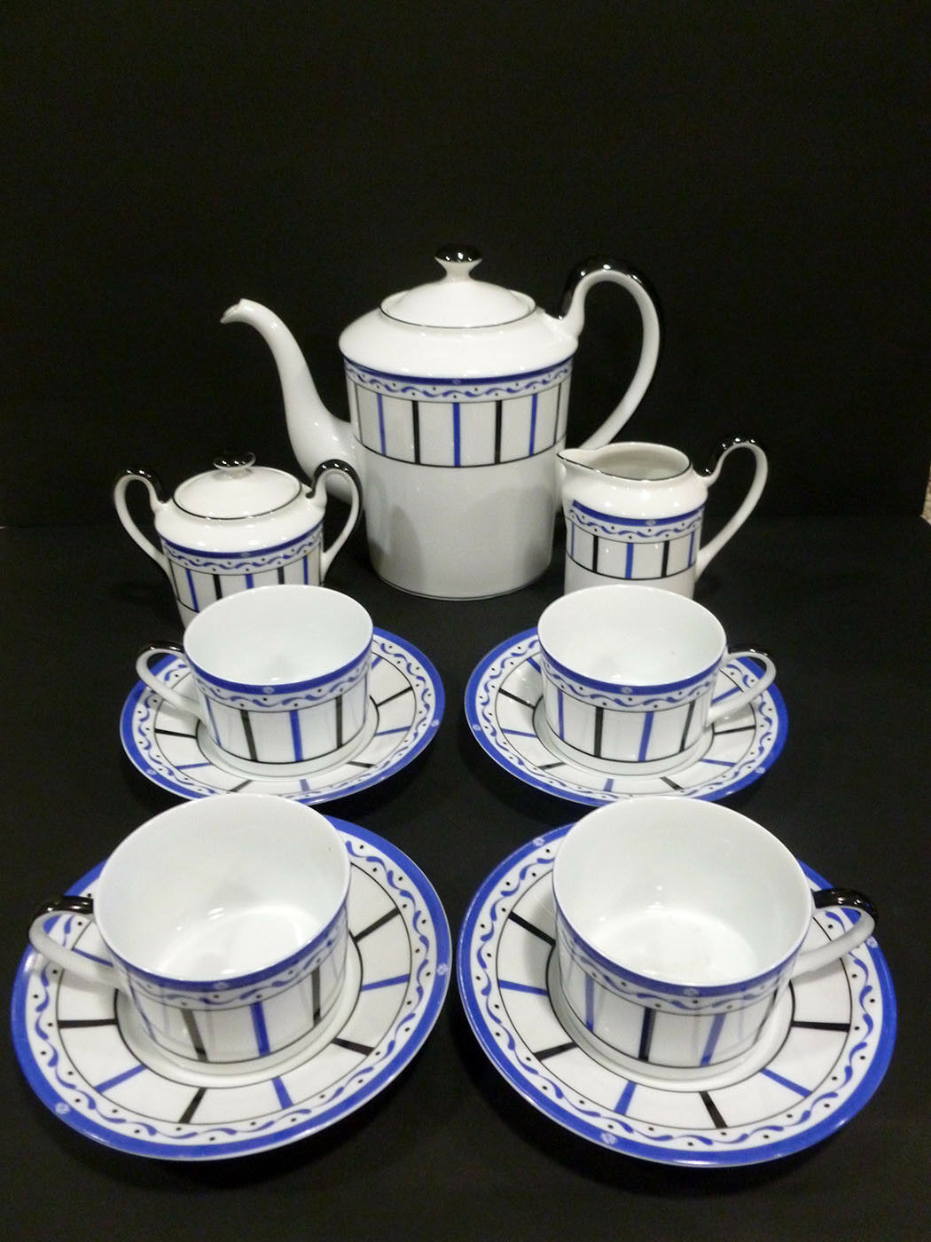 CHRISTIAN DIR PORCELAIN JUNOESQUE UNIQUE DESIGN HQ COMPLETE VTG TEAPOT SET 7087