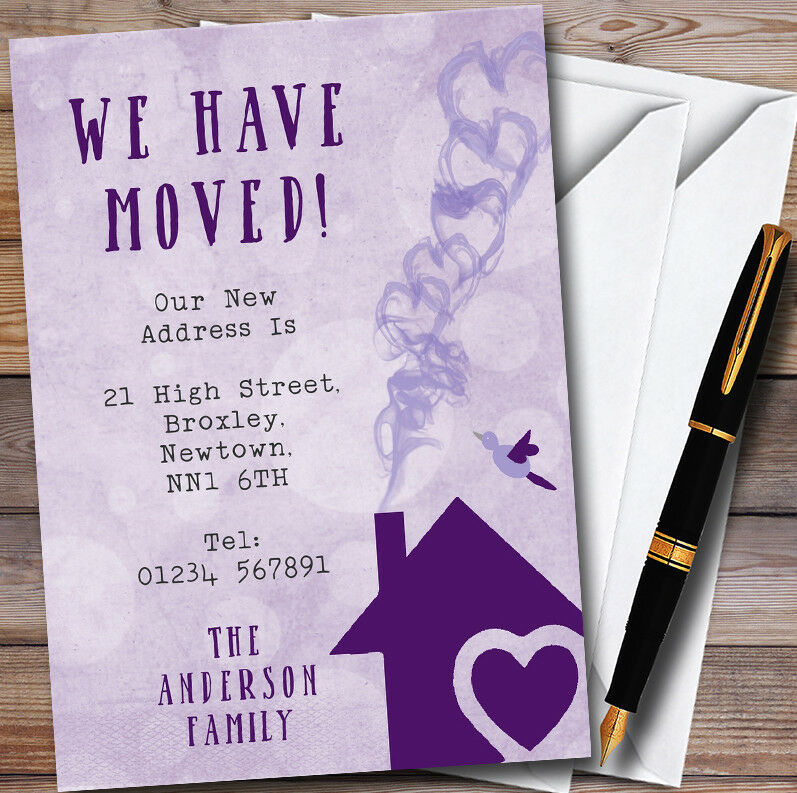lila Heart House New Home Change Of Address Moving House Cards