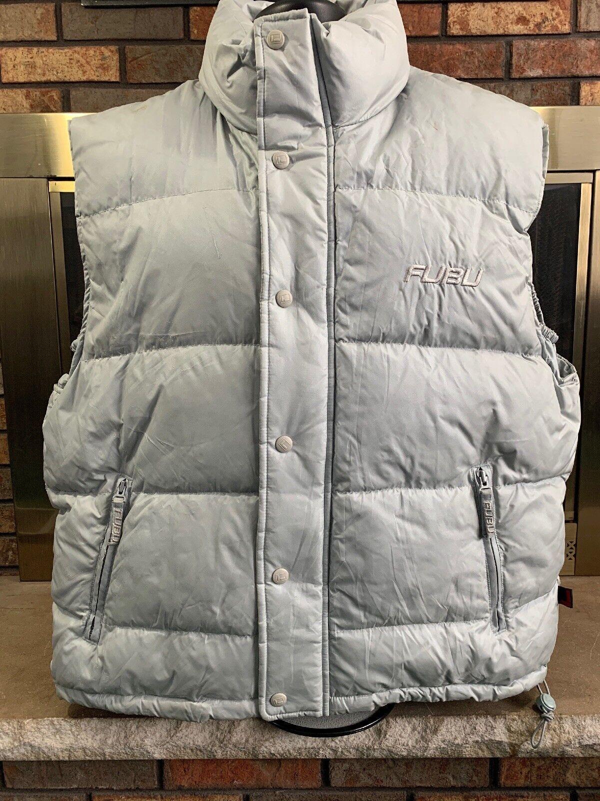 Fubu Men's Ski Puffer Vest Zip Up Button Up Size Large Grey Warm Winter Vintage