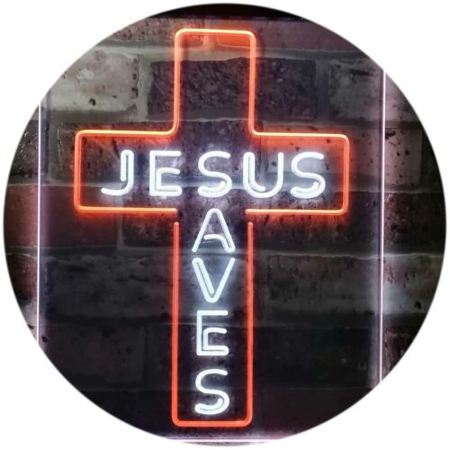 Jesus Saves Cross Wall Plaque Dual Color Led Neon Sign st6-st6-i3162