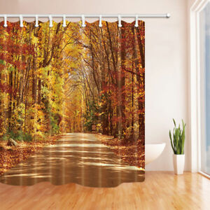 Details About Autumn Forest Nature Bathroom Fabric Shower Curtain Extra Long 84 Inch