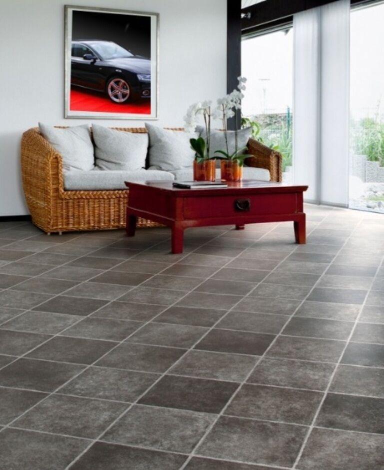 PVC Bodenbelag Fliesen dunkel diagonal 300 cm Breite pro qm =
