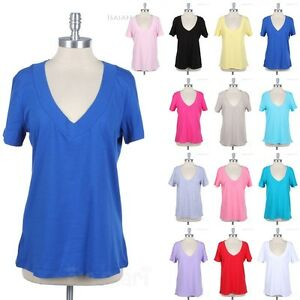 Junior-Plus-Size-Women-039-s-V-Neck-Short-Sleeve-Top-Casual-T-Shirt-1X-2X-3X